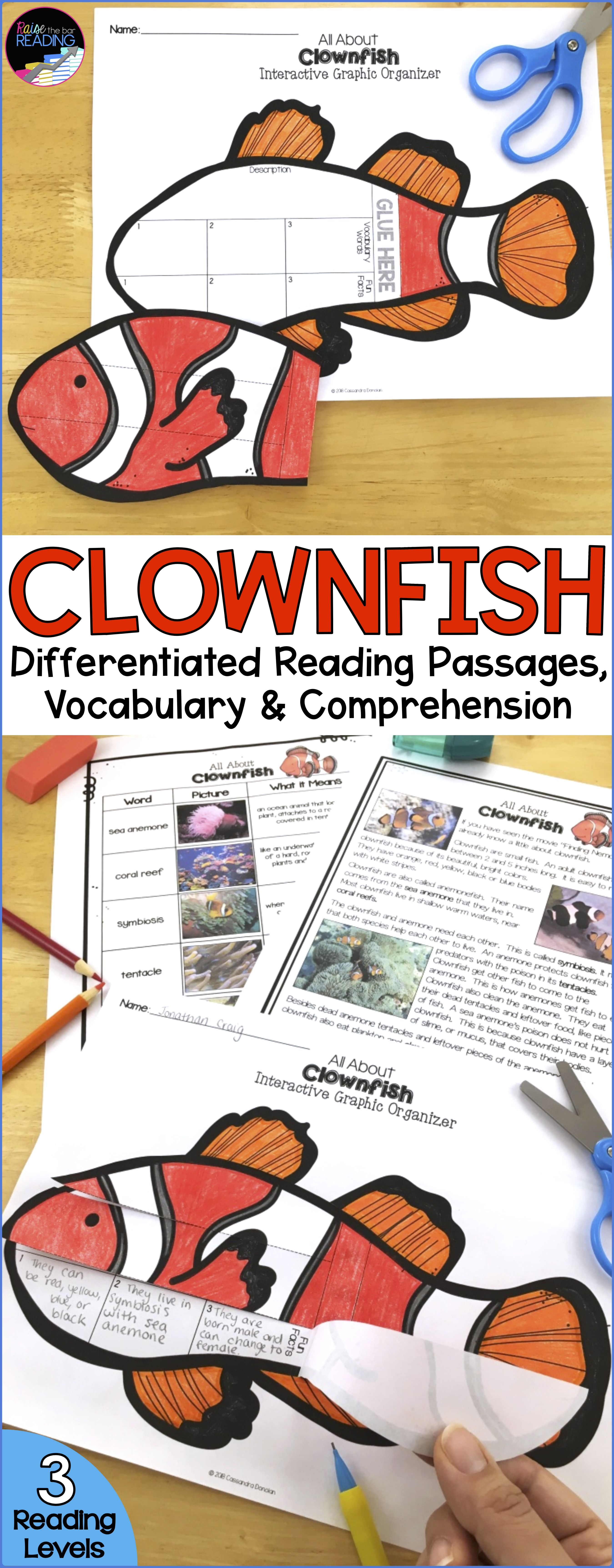 Ocean Animals Reading Clownfish Differentiated Reading