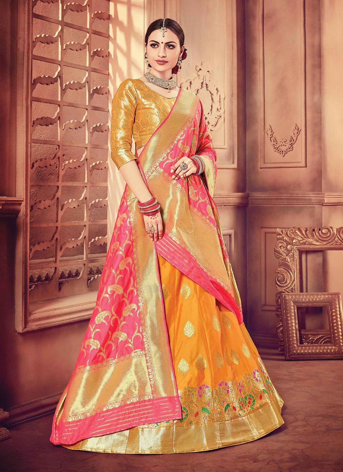 39852e8e98 Orange Pure banarasi silk lehenga choli with contrast red dupatta ...