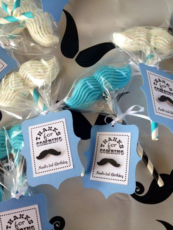 Little Man Mustache Birthday Party Favor Tags Baby Blue Or Red