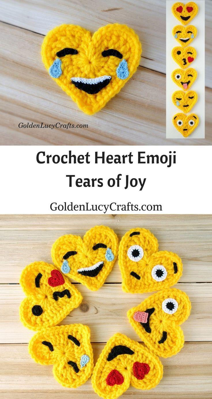 Crochet Emoji, Tears of Joy, Free Crochet Pattern, Valentines Crochet