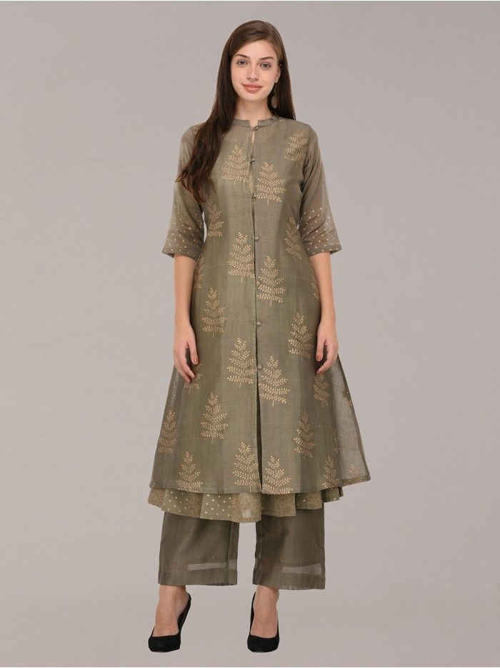 3233c2b47d Olive Green Chanderi Block Printed Kurta with Lining and Palazzo - Set of 3