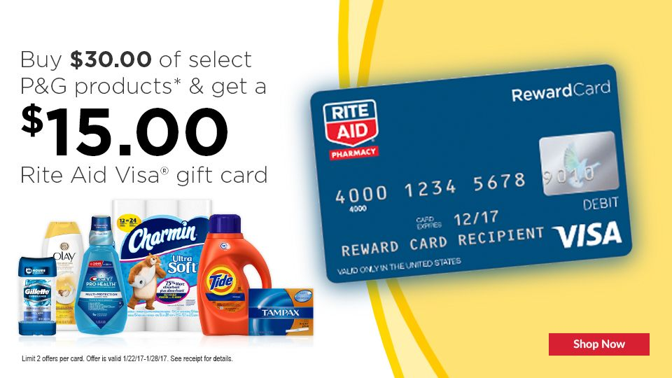 Georgine Saves Blog Archive Good Deal Spend 30 On P Amp G Products Get 15 Rite Aid Gift Card Gift Card P G Products Pharmacy Gifts
