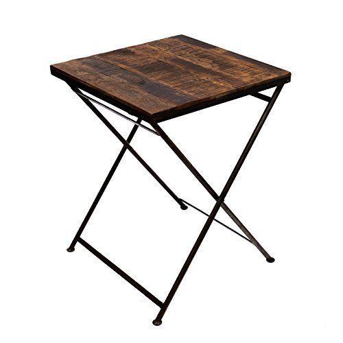 Klapptisch Beistelltisch Hocker Holz Eisen Massiv Gartentisch