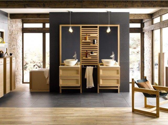 une salle de bains zen salle de bain bois double vasque. Black Bedroom Furniture Sets. Home Design Ideas