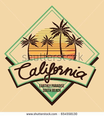 80s Style Vintage Retro California Slogan Summer Surf And Palm Beach Vector Design Tropical Paradise Scene With Typography For T Shirt