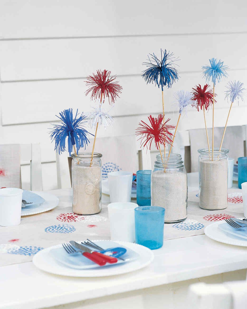 Fireworks Table Setting | Martha Stewart Living - Liven up your table by making pom-  sc 1 st  Pinterest & Fireworks Table Setting | Martha Stewart Living - Liven up your ...