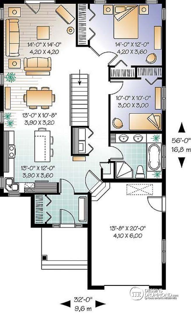 W3263 - Plan de maison plain-pied économique champêtre, 2 chambres - plan maison  plain pied