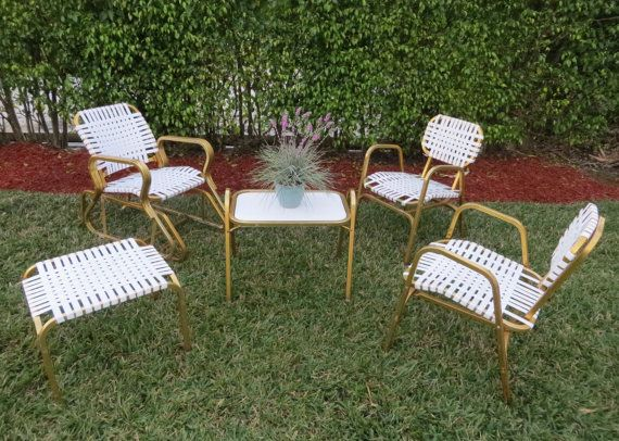 Retro Vintage Gold Aluminum Patio Set 5 Piece By Soulfulvintage