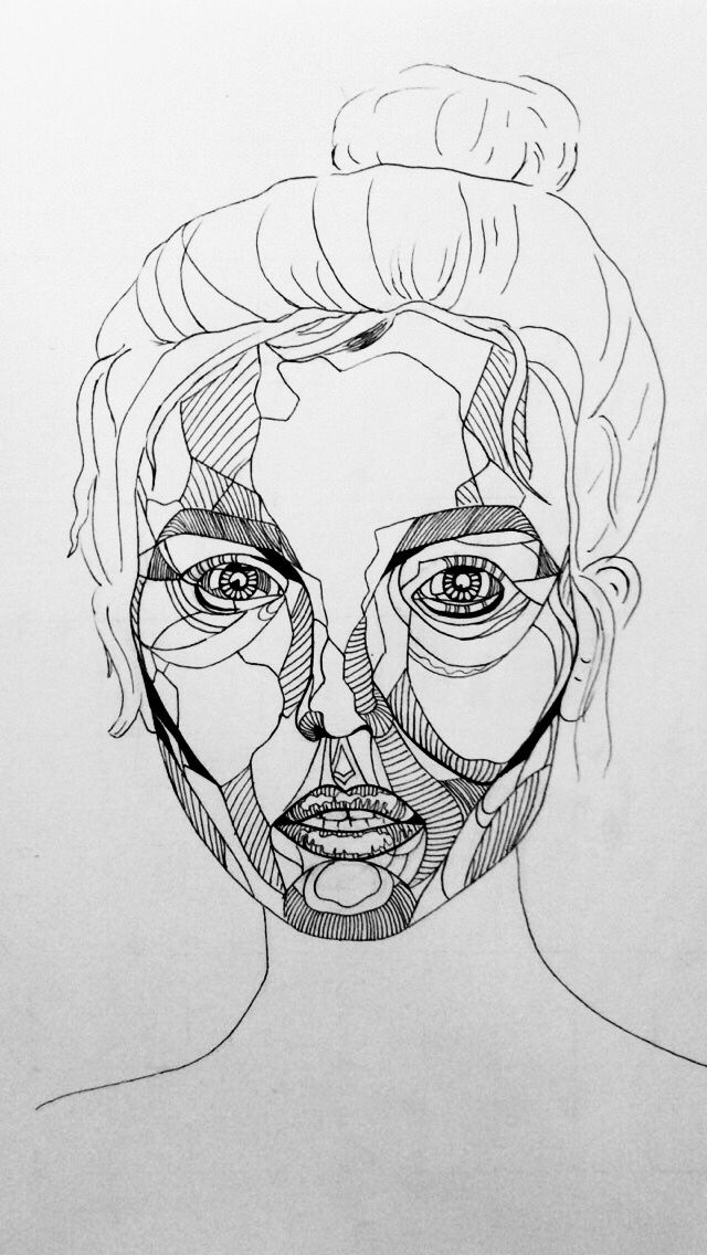 Continuous Line Drawing Face : Fine liner art done by me fineliner linedrawing