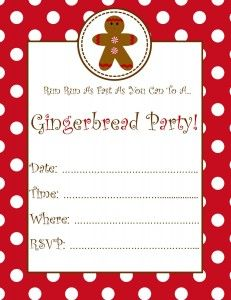 Free gingerbread party invitation gingerbread pinterest free gingerbread party invitation filmwisefo Images