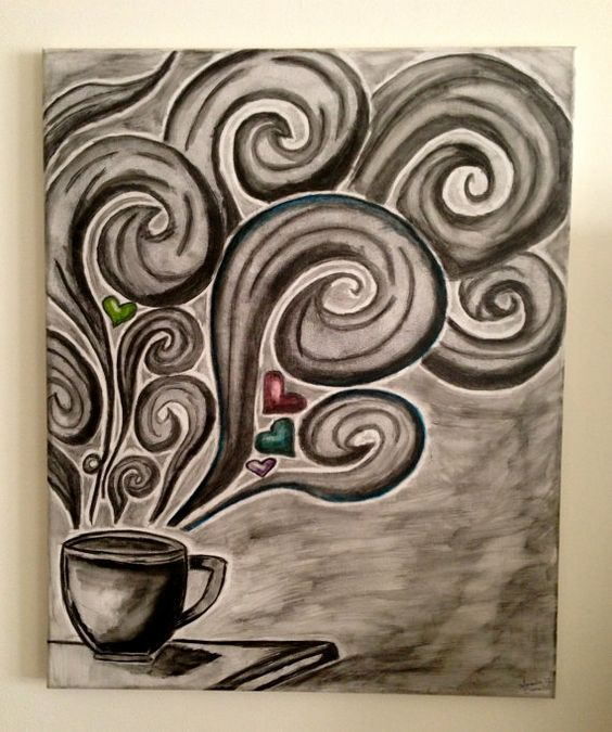 Coffee Canvas Art This Original Was Completed Using Pencil And Watercolor The Is It Black White With A Touch Of Blue Pink