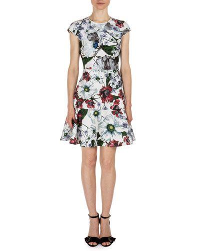 ERDEM Darlina Cap-Sleeve Floral-Print Dress, White/Red. #erdem ...