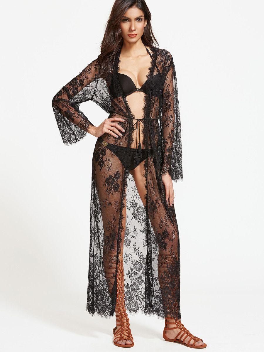 Kimono Morgenmantel schwarz weiß transparent Nachtwäsche Damen Dessous