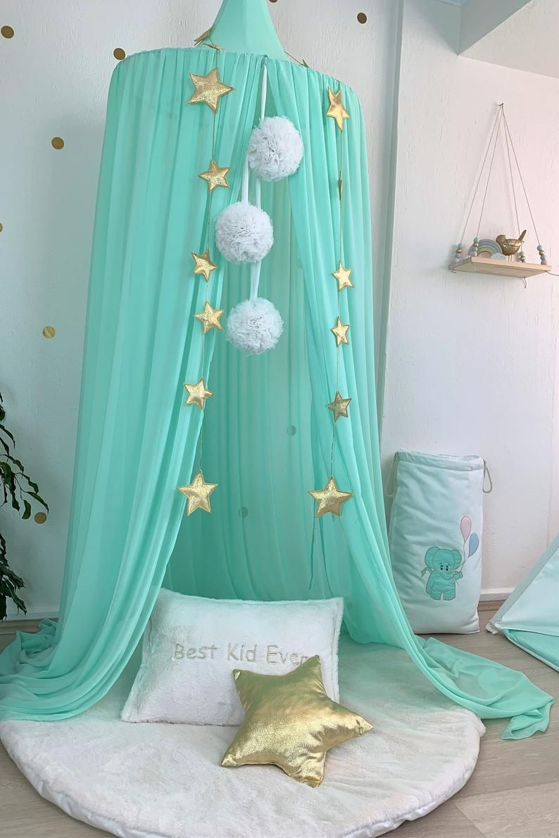 Photo of Bed Canopy, Chiffon baldachin, Mint Canopy, Kids Ceiling Hanging Tent, Canopy for Nursery Kids, Green Reading Nook, Green Crib canopy,