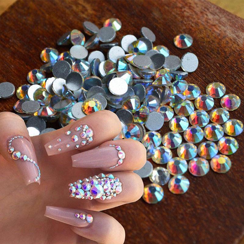 Simple Nail Art Designs With Rhinestones: 1440pcs/lot Crystal Flat Back Iridescent Nail Art