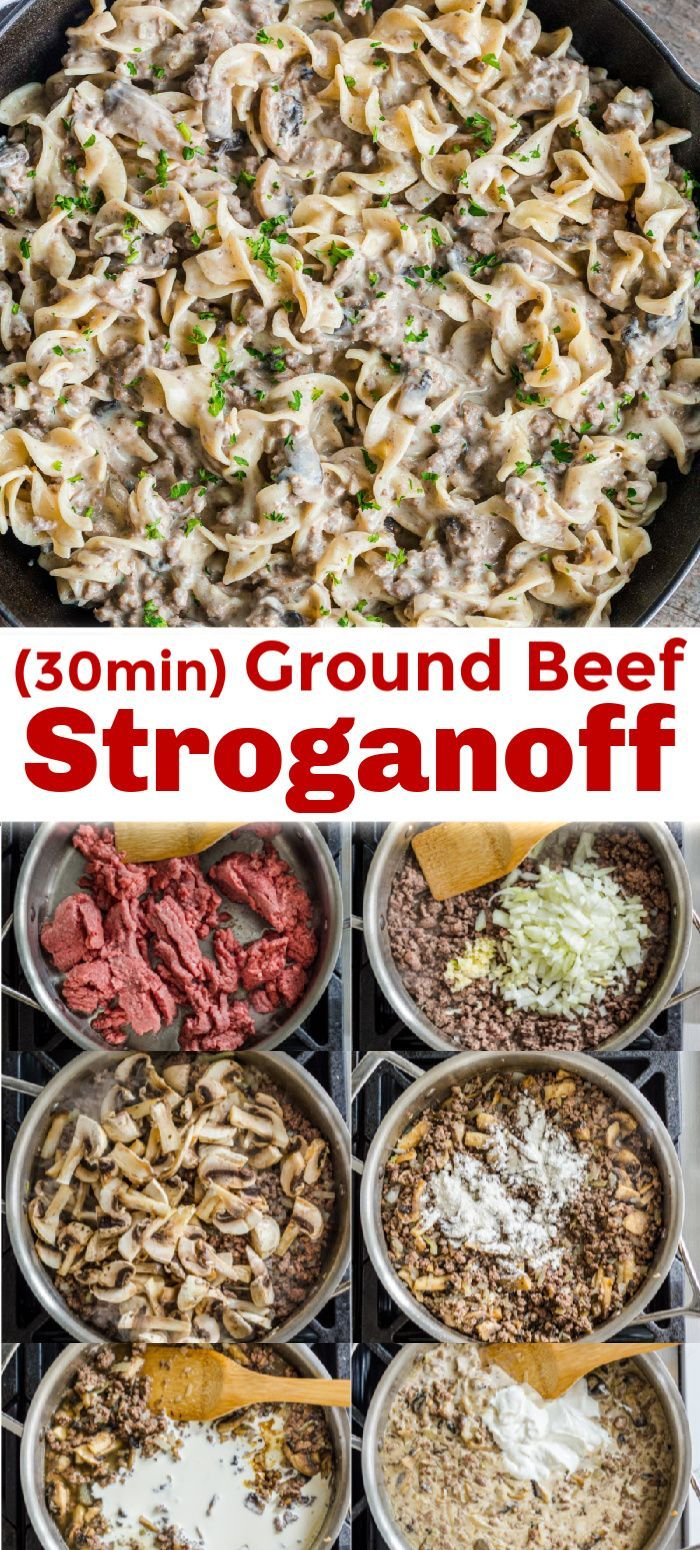Ground beef stroganoff is an easy 30 minute one-pan dinner. All the great flavors of stroganoff made even easier using ground beef. #beefstroganoff