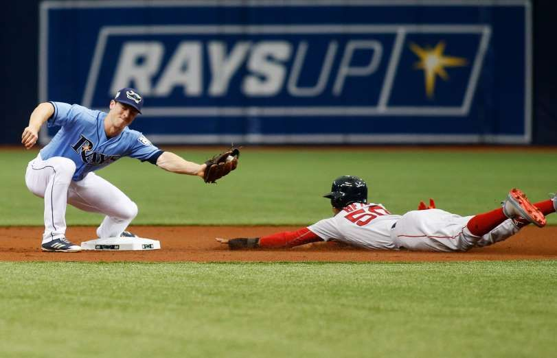 2018 Mlb Season Stealing Second A Sliding Mookie Betts Of The Boston Red Sox Steals Second Base Against Joey Wendle Tampa Bay Rays Tampa Bay Mookie Betts