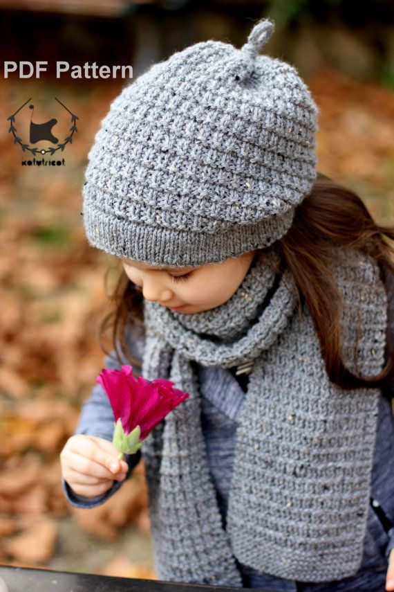 Slouchy Hat And Scarf Hiver Knitting Pattern Toddler Child Adult