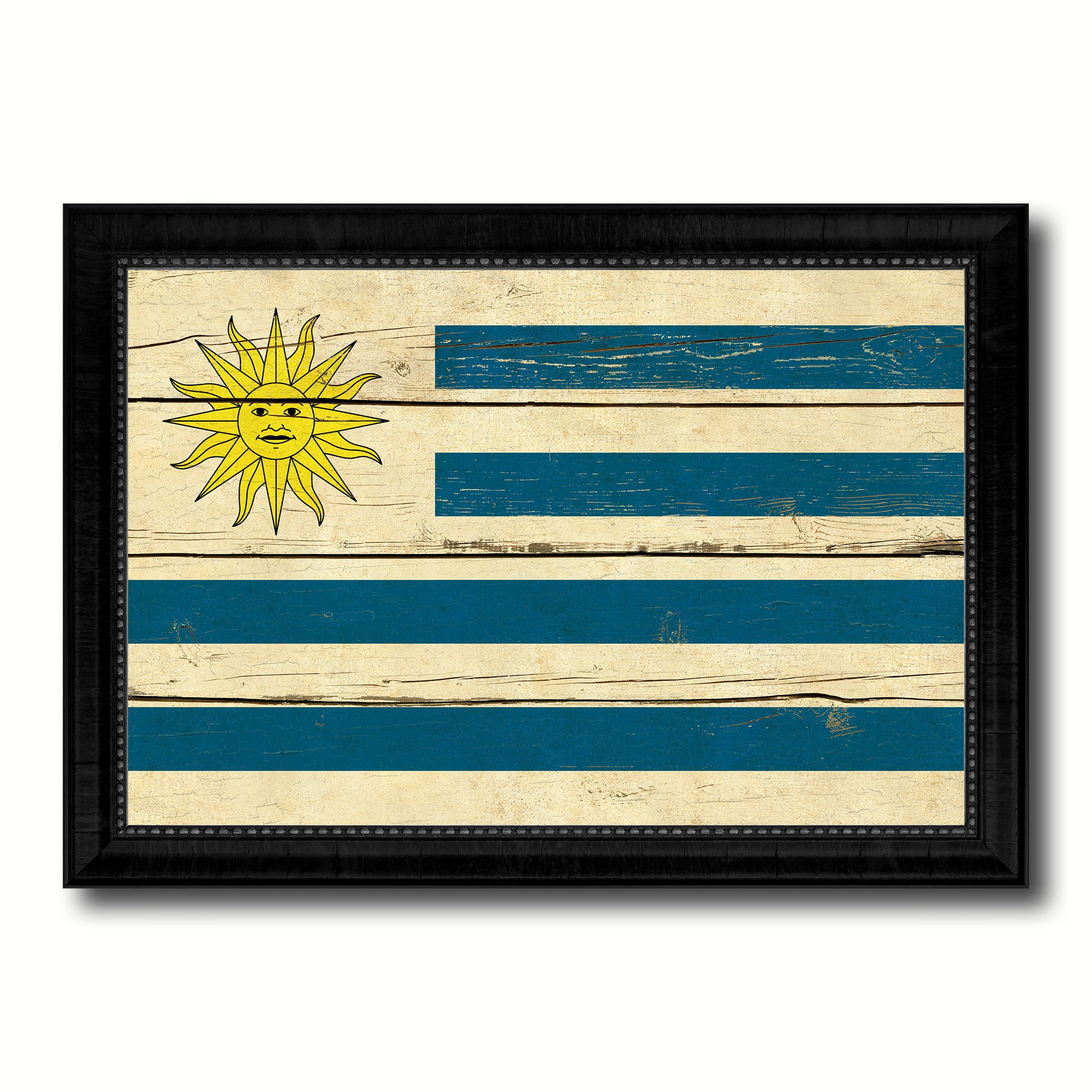Uruguay Country Flag Vintage Canvas Print with Black Picture Frame ...