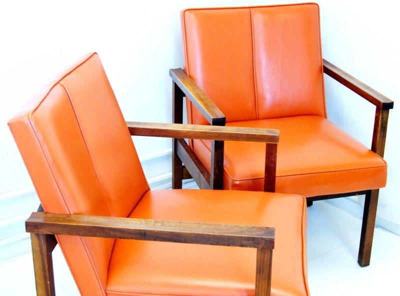 mid century danish ceramics | mid century modern teakwood vinyl arm chairs 012