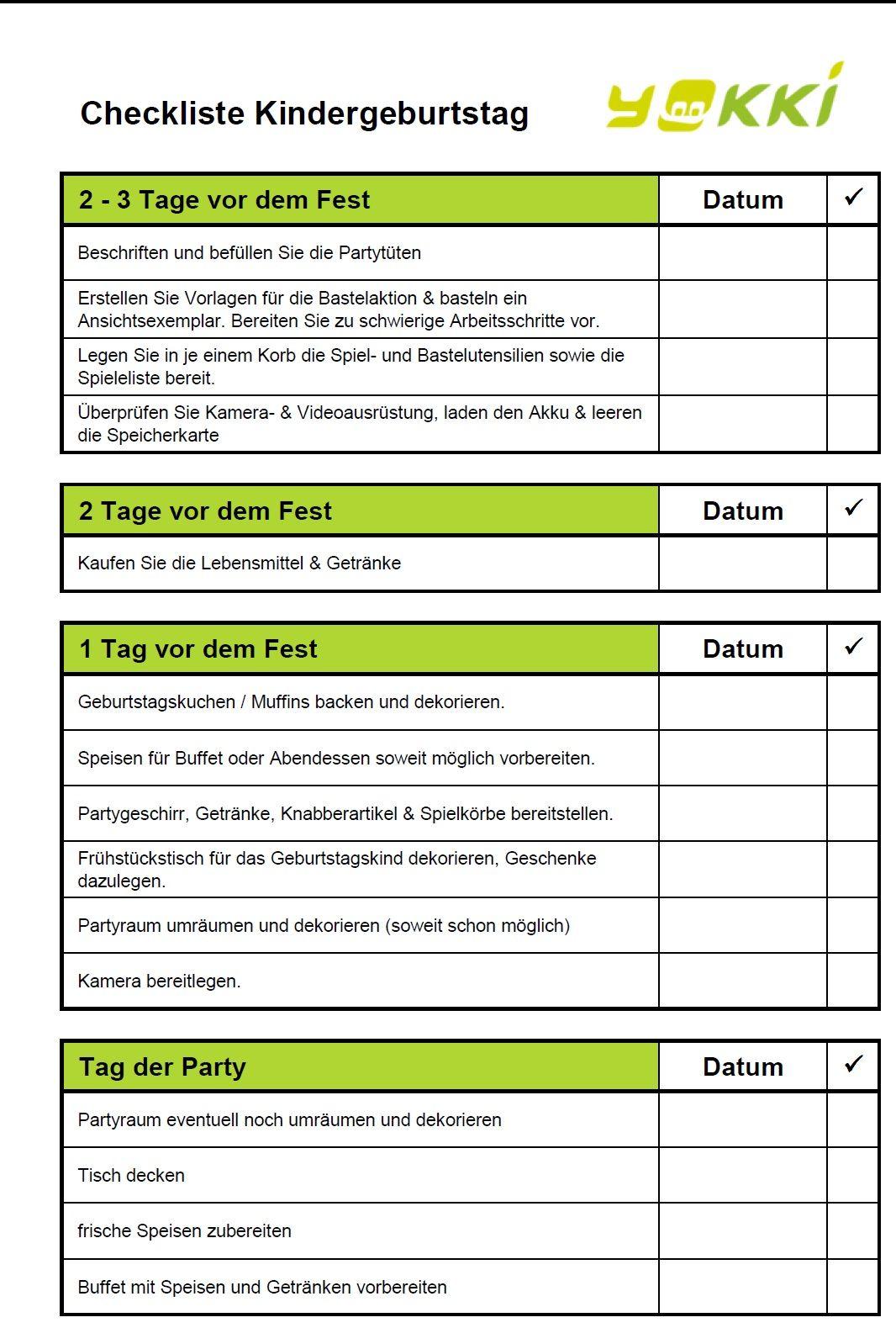 Gratis Checkliste für Partyplanung Kindergeburtstag (Diy ...