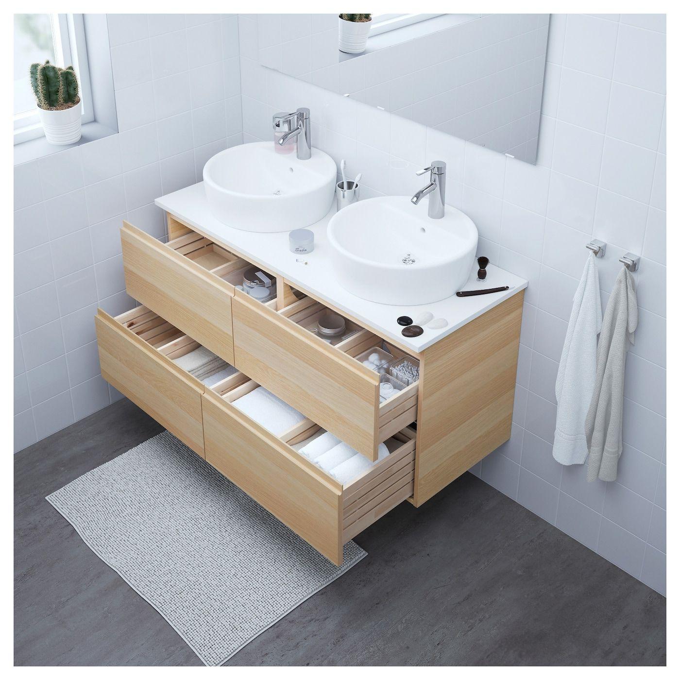 GODMORGON Armario lavabo 4cajones - efecto roble tinte ...