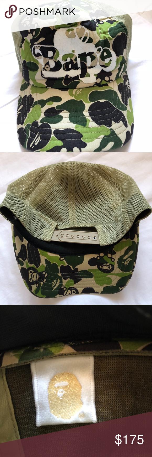 516a418ea4e Bape A bathing Ape Supreme Baby Milo Trucker Hat 🚨Bape Baby Milo Green  Camo Trucker