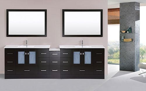 97 Over 108 Hermosa Espresso Double Modern Bathroom Vanity With Side Cabinet And Integrated Sinks Vani Modern Bathroom Vanity Modern Vanity Modern Bathroom