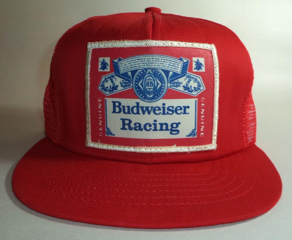 243061948544b Authentic Vintage Budweiser Racing Logo Hat Snapback Trucker Cap Red Mesh   Budweiser  Trucker