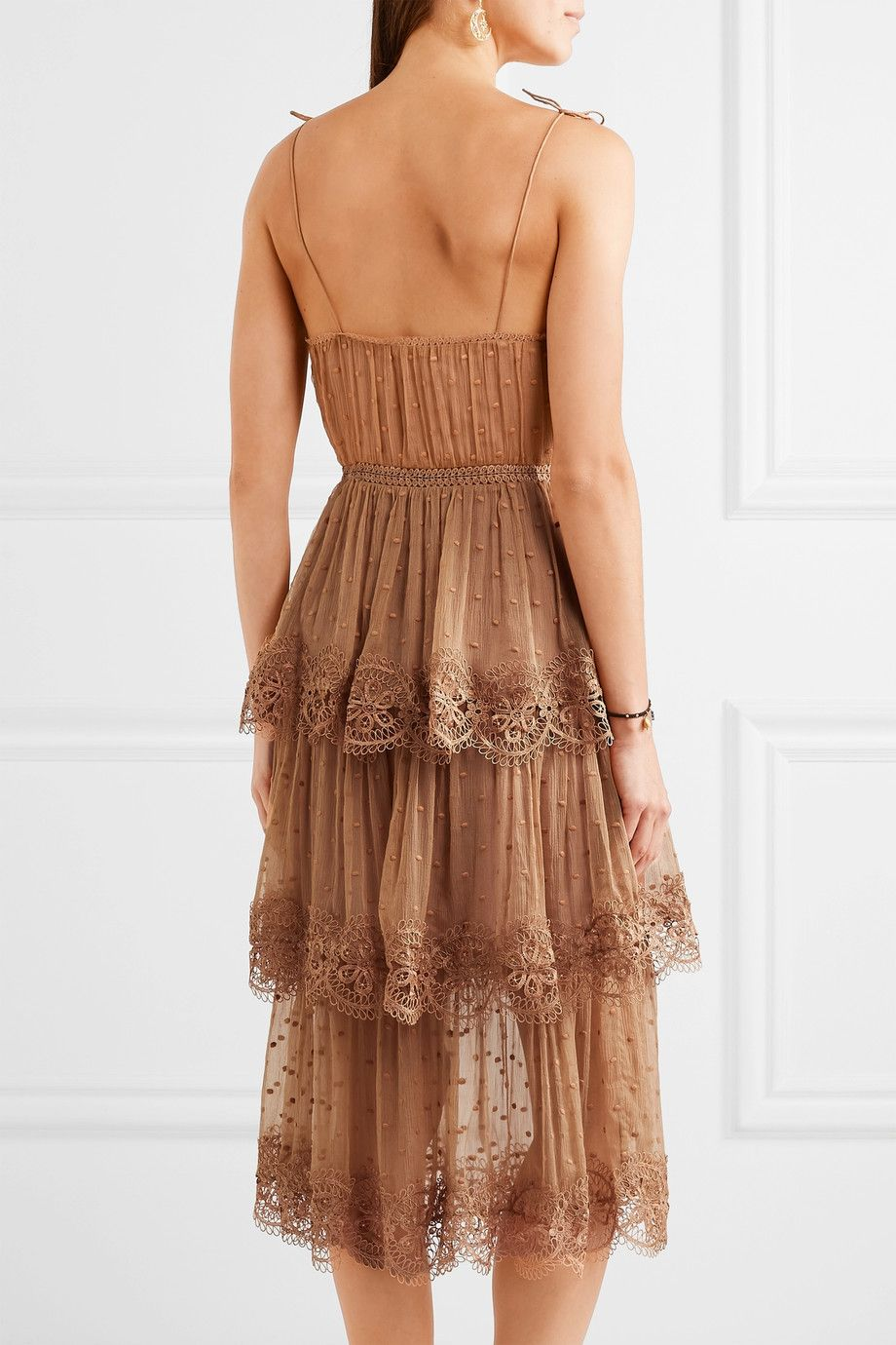 Zimmermann | EXCLUSIVE Meridian Circle lace-trimmed embroidered silk-georgette dress | NET-A-PORTER.COM