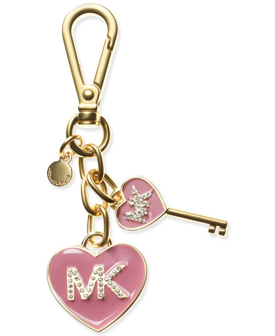Michael Michael Kors MK enamel heart keychain \u2014 cute charms, a touch of gold ,