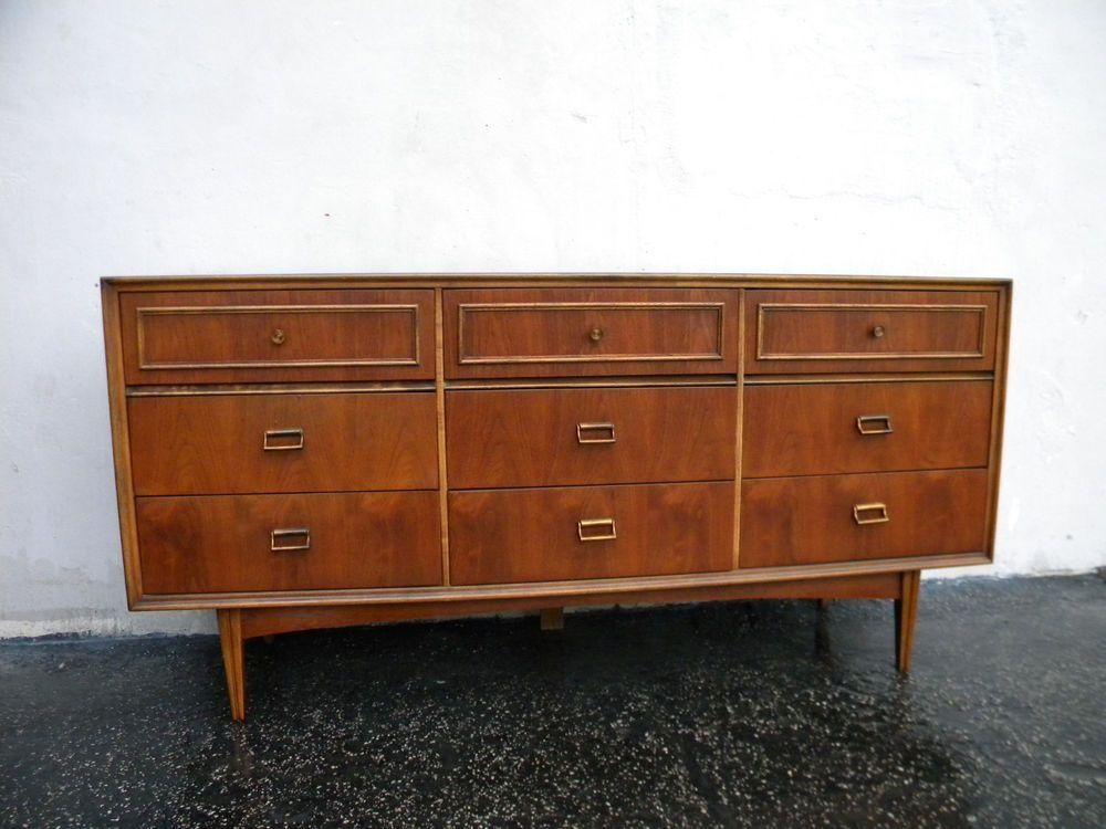 Best Vintage Walnut Mid Century Dresser By Bassett 5527 400 x 300