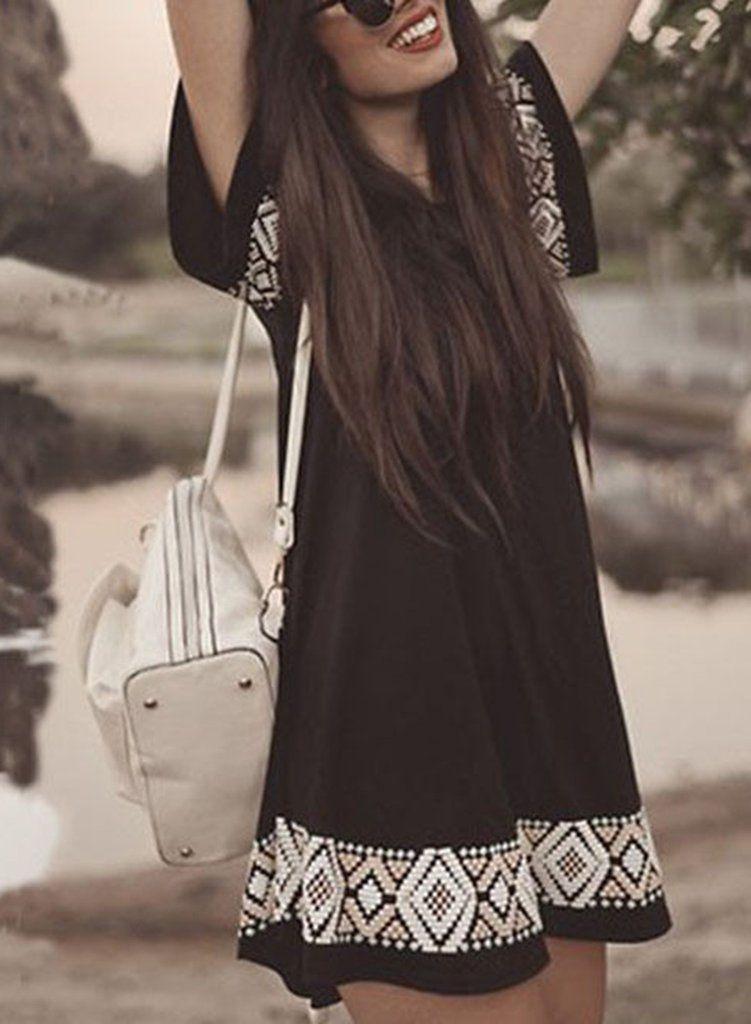 Casual Summer Short Sleeve Print Mini Pullover Dress