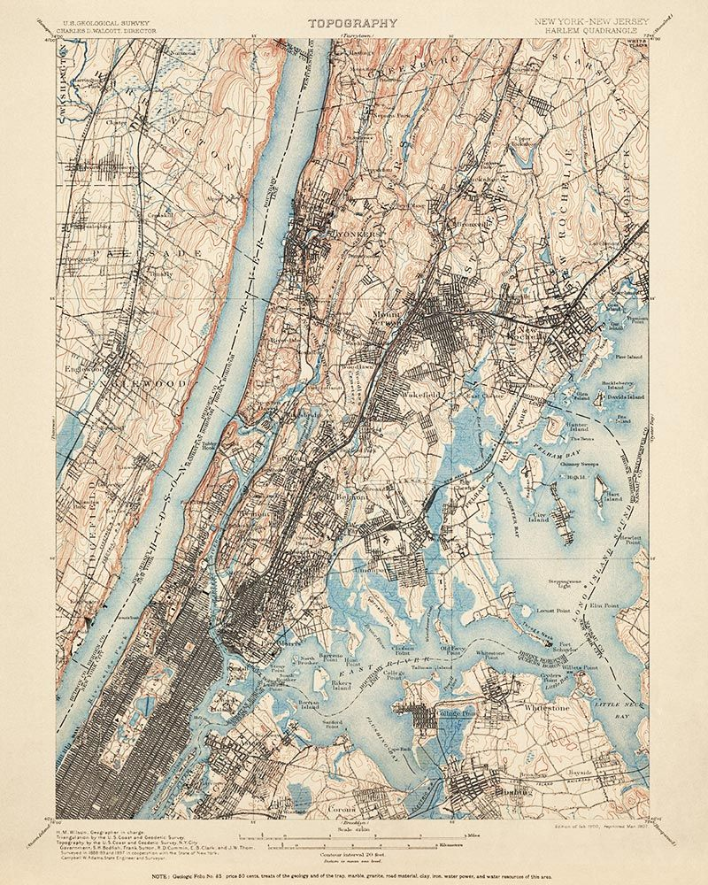 topographic map of new york city Historic Usgs Topographic Map Of New York City 1900 City Map Art New York City Map Map Of New York