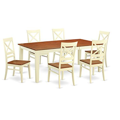 East West Furniture QUIN7WHIW 7Piece Formal Dining Table Set ButtermilkCherry Finish Be Sure To