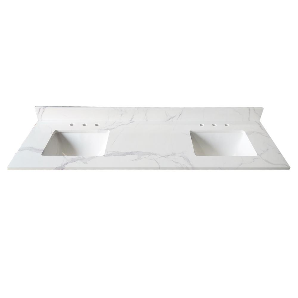 73 In Calacatta White Engineered Marble Top Attached Two Stylish Rectangular White Vitreous China Und In 2020 Marble Vanity Tops Home Decorators Collection Calacatta