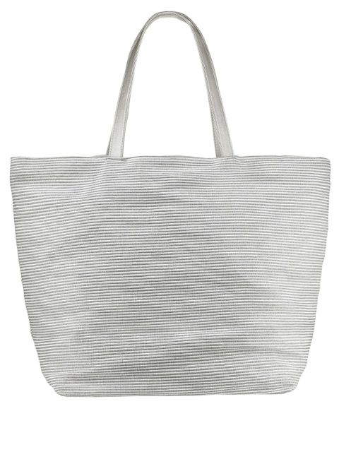 Gatineau Paris Beach Bag!! Sparkly Silver & White Striped *Bargain