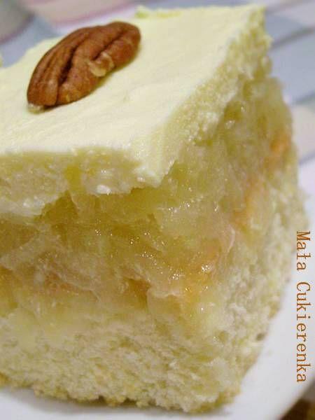 Ciasto z jabłkami i kremem budyniowym - Mała Cukierenka