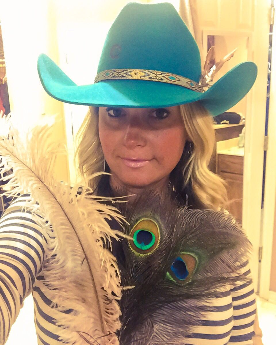 d0fa0342e9b59 My new fav turquoise cowboy hat from Charlie 1 Horse. Now to pick my  feather.  -)