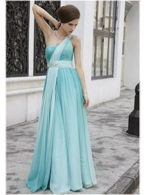 One-shoulder Beaded Reffule Evening Dress Gown (12876) at DoItStyle.com