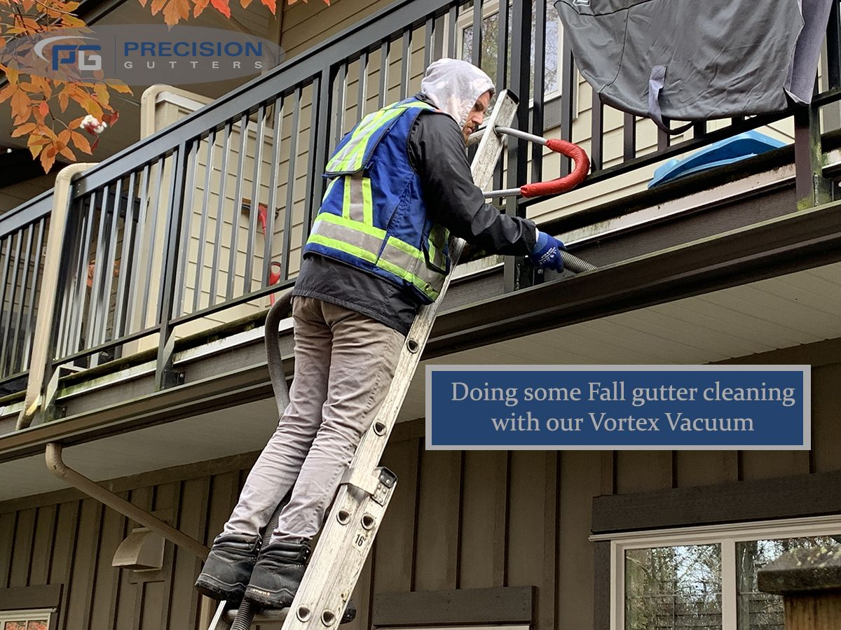 Gutter Cleaning Is Easy And Efficient With Our In House Designed Vortex Vacuum Cleaning System Call For Your Fall C Cleaning Gutters Gutter Accessories Gutter
