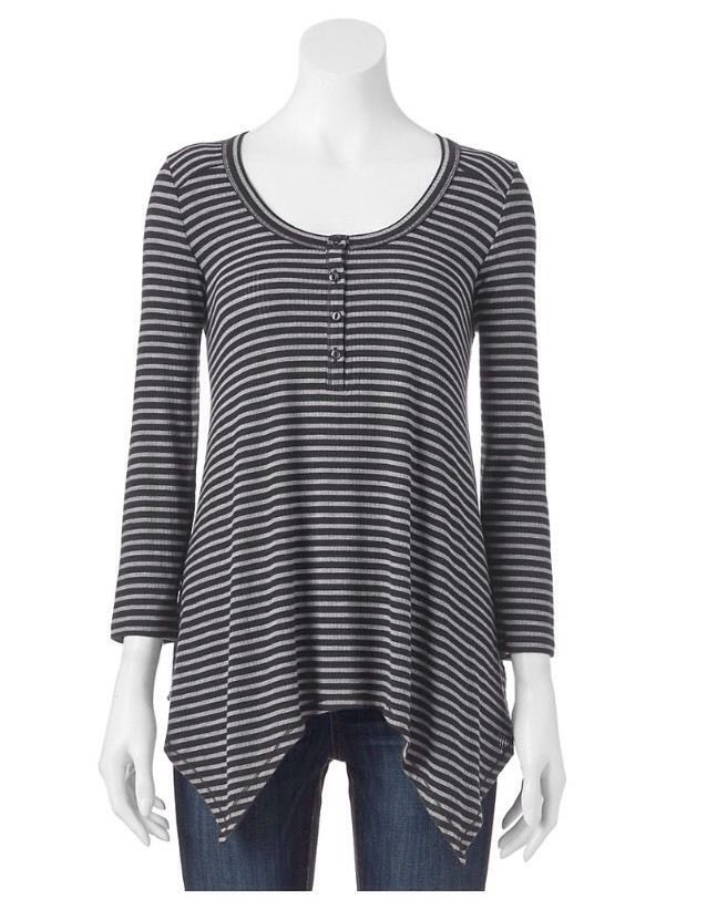 59104fb29db SONOMA Women Scoop Neck Striped Black Swing Henley Tee T-Shirt Sleeve SZ M  NWT
