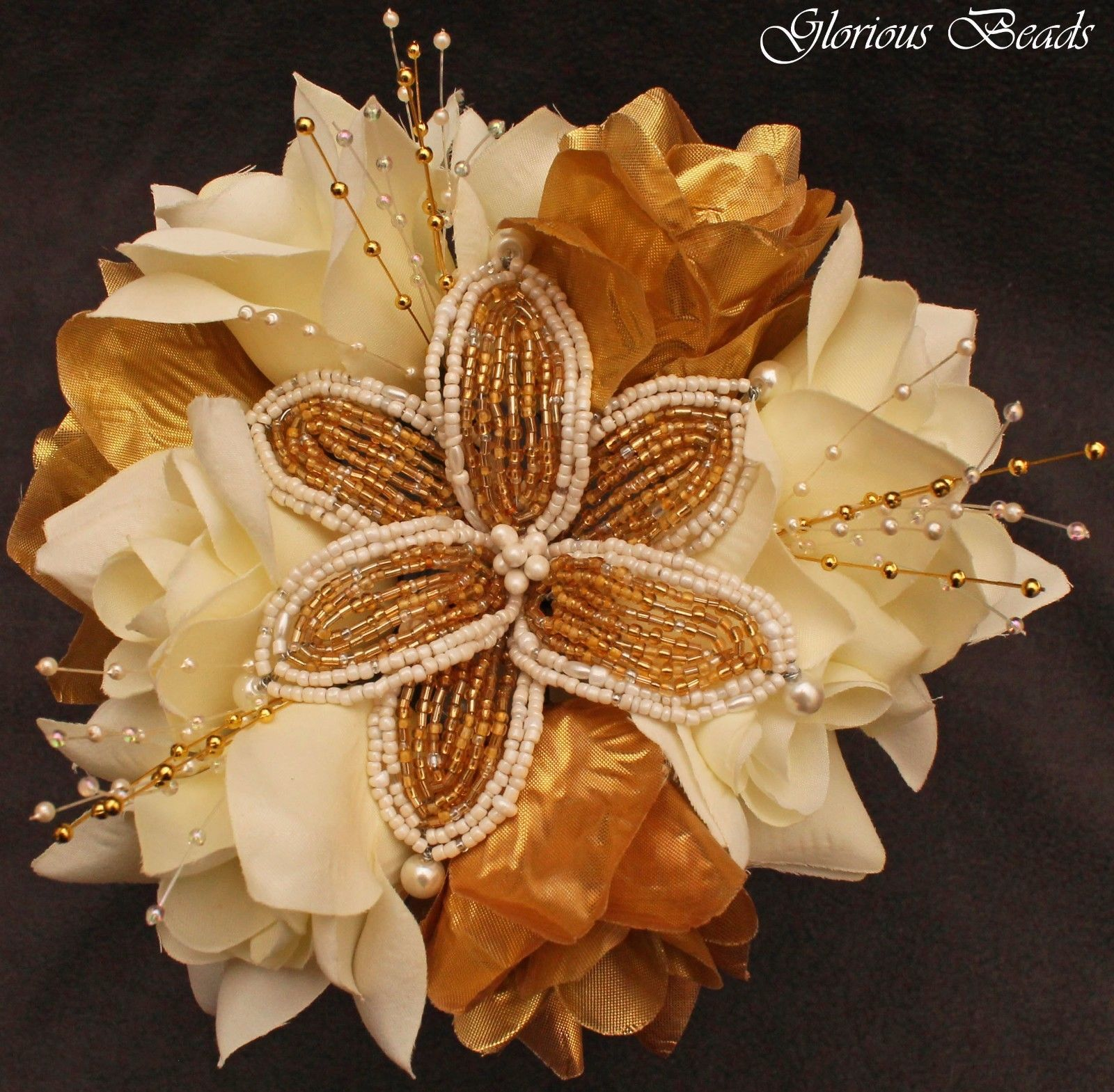 Gold & Ivory BEADED Flower Quinceanera Wedding Bouquet 16 PC Set ...