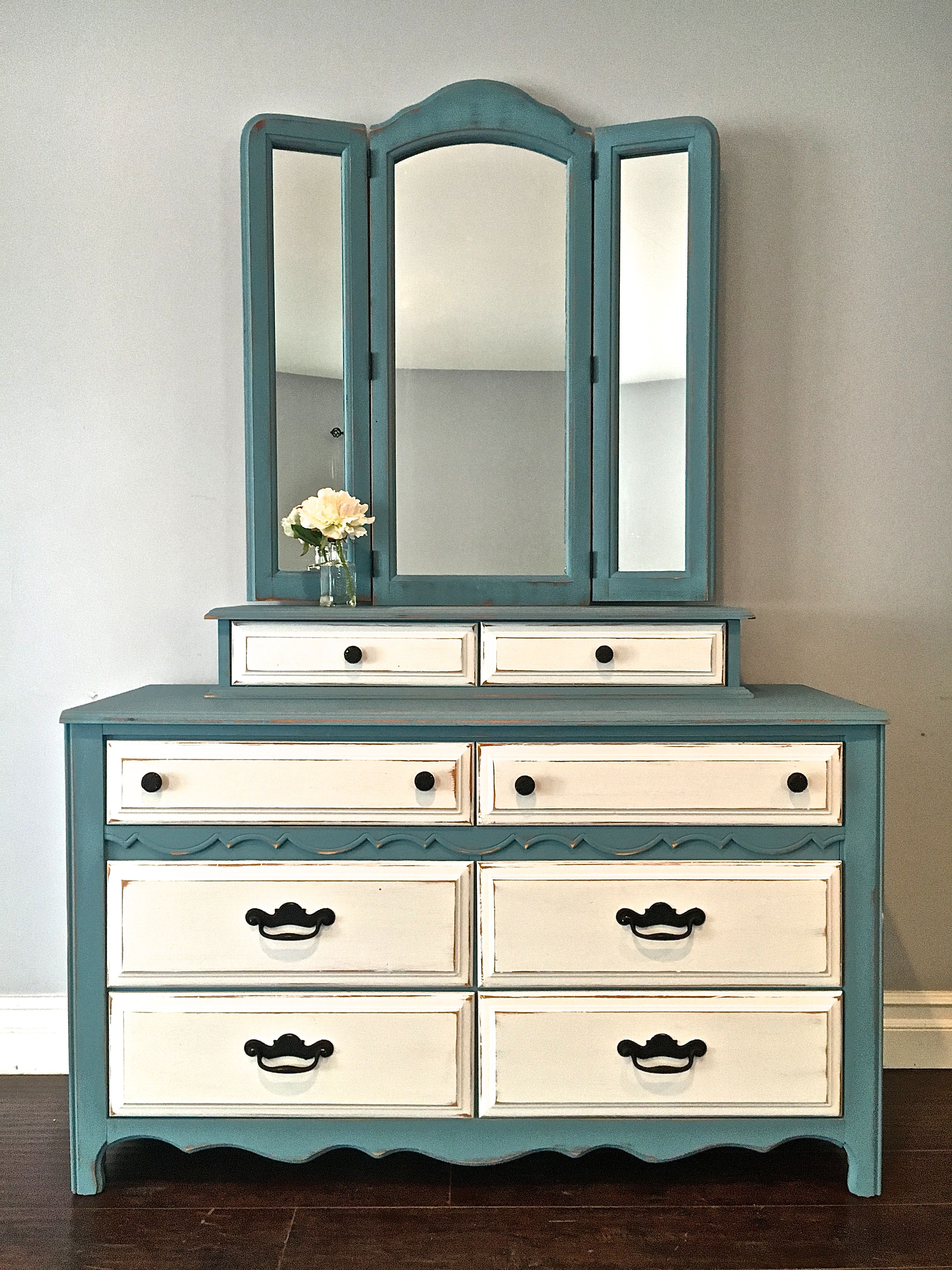 Shabby Chic Blue White Black Dresser Mirror Set 450 Sold