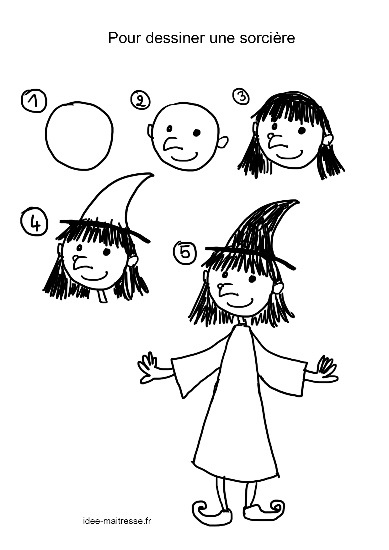Comment dessiner une sorcière qui vole sur son balai