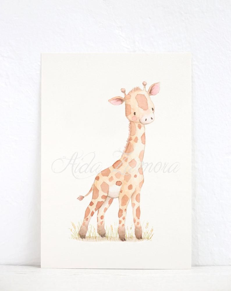Nursery Art Baby Giraffe Archival Print Nursery Watercolor