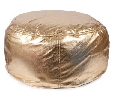 Leather Beanbag Metallic Gold Large