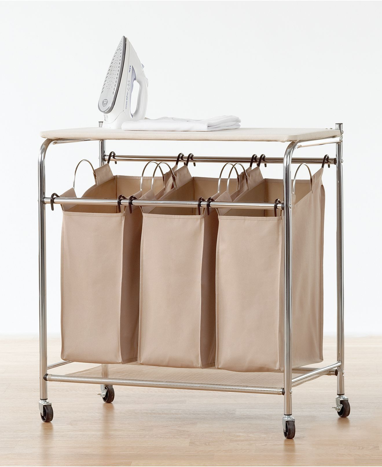 neatfreak hampers everfresh laundry triple sorter with ironing board iron board and hamper. Black Bedroom Furniture Sets. Home Design Ideas