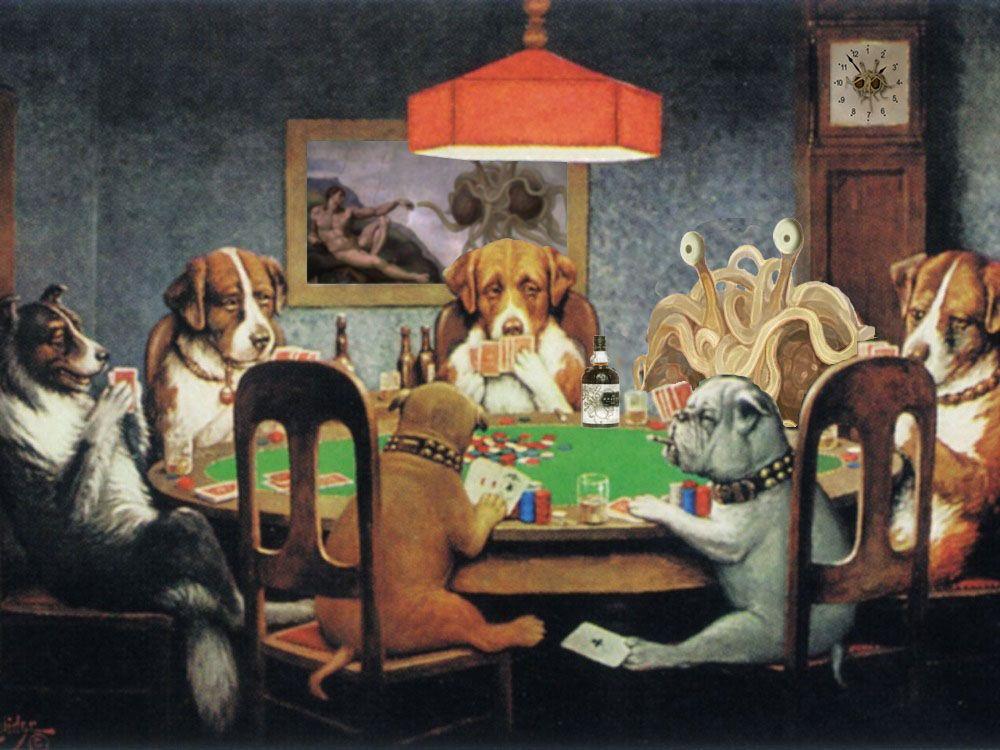 Flying Spaghetti Monster ~ Dogs Playing Poker