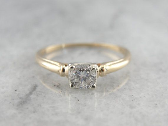 Simple Yellow Gold 195039s Diamond Solitaire Engagement